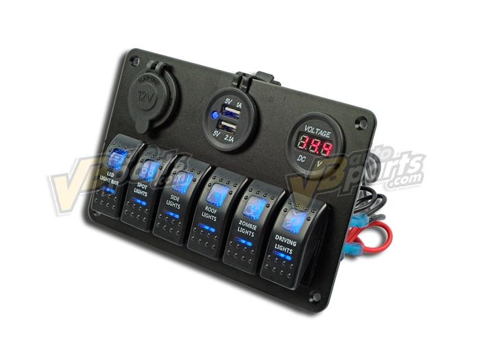 แผงสวิตช์ไฟอลูมิเนียม 6 ปุ่ม USB Socket12V