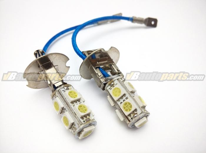 หลอดไฟ LED ขั้ว H3 ไฟ 9 จุด SMD แสงขาว