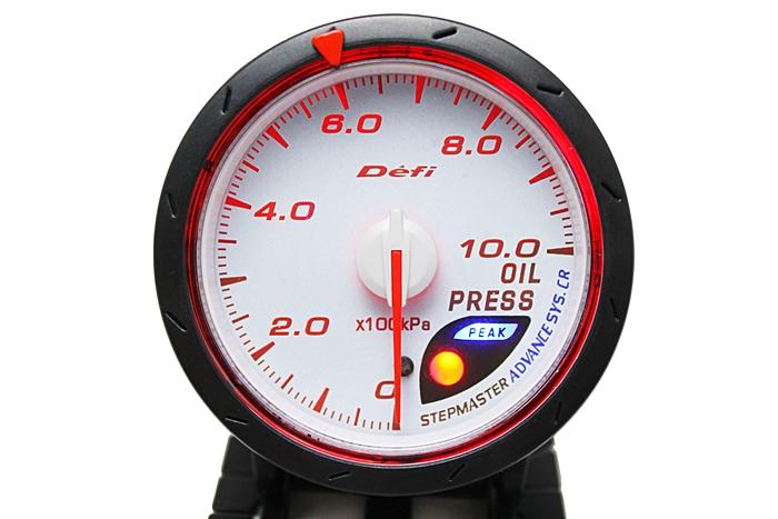 เกจ์ Defi Adv. CR หน้าแรงดันน้ำมันเครื่อง รุ่นปรับได้ 33 เฉดสี หน้าขาว